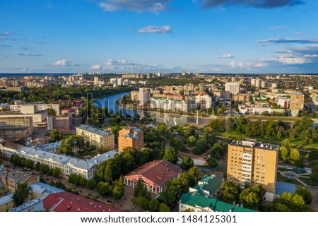 Aerial Panoramic view of historic center of Oryol or Orel city, Russia with bridge, Oka river, historical buildings and Orthodox temples, drone photo