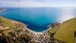 Aerial panoramic view of Isle of WIght, UK