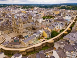 Aerial panoramic view of Lugo city with buildings and landscape, Galicia