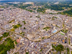Aerial panoramic view of Lugo city with buildings and landscape, Galicia ..