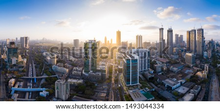 Aerial panoramic view of Mumbai's richest business district and skyscraper hub- Lower Parel. Various businesses, MNCs, corporates operate from here and it is a prominent skyscraper hub of Mumbai. #1493044334