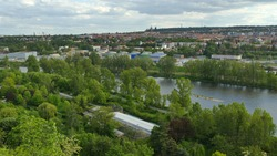 Aerial panoramic view of old Prague city centre and Vltava River from zoo viewpoint