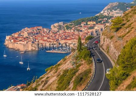 Aerial panoramic view of old town of Dubrovnik and Dalmatian Coast of Adriatic Sea, Croatia.
