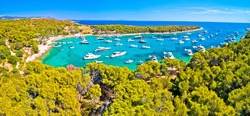 Aerial panoramic view of Palmizana, sailing cove and turquoise beach on Pakleni Otoci islands, archipelago of Hvar in Croatia