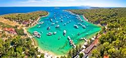 Aerial panoramic view of Palmizana, summer leisure sailing cove and turquoise beach on Pakleni Otoci islands, archipelago of Hvar in Croatia