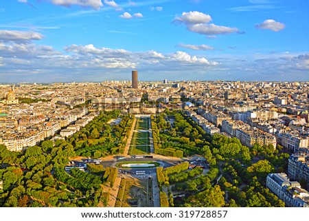 Aerial panoramic view of Paris and Champ de Mars from Eiffel Tower in Paris at sunset, France. Stock photo ©