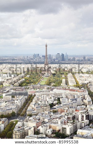 Aerial panoramic view of Paris, France - stock photo