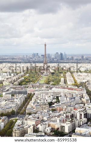 Aerial panoramic view of Paris, France