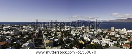 Aerial panoramic view of Reykjavik. Iceland
