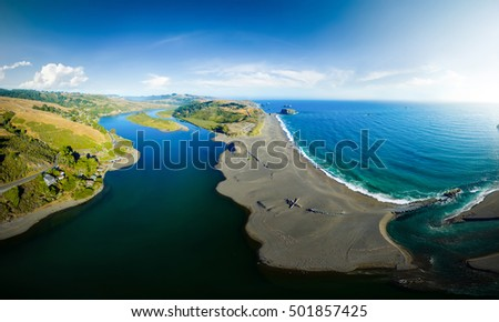 Aerial panoramic view of sea nature landscape. Coastline of the Pacific ocean, California USA. travel concept. View from above to river scene. Nature sea view. Park at summer.