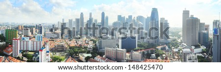 Aerial panoramic view of Singapore in the morning - stock photo