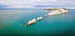 Aerial panoramic view of the Needles of Isle of WIght, UK
