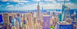 Aerial panoramic view of the New York City skyline from Midtown Manhattan, USA