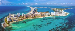 Aerial panoramic view of the northern peninsula of the Hotel Zone (Zona Hotelera) in Cancún, Mexico