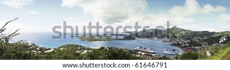 Aerial panoramic view of the  of St Thomas, USVI,carribean islands