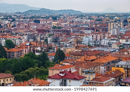 Aerial panoramic view of the residential buildings in Lower Bergamo (Citta Bassa). Italy. Foto d'archivio ©