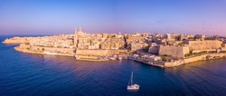 Aerial panoramic view of the Valletta old town on Malta.