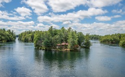 Aerial panoramic view of Thousand Islands National Park, Ontario, Canada
