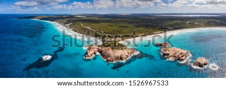 Aerial panoramic view of Twilight Bay and Twilight beach at Esperance in Western Australia