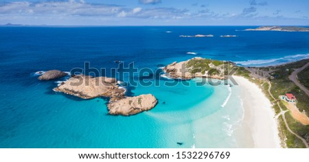 Aerial panoramic view of Twilight Bay and Twilight beach rocks at Esperance in Western Australia