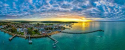 Aerial panoramic view of Yarmouth on the isle of Wight, UK
