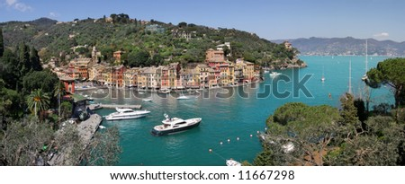 Aerial panoramic view on Portofino - small town and famous touristic resort on Ligurian Sea in Italy.