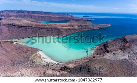 Aerial panoramics from Espiritu Santo Island, Baja California Sur, Mexico. Foto stock ©