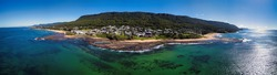 Aerial Panoroma of Coledale Rockpool and Beaches, South Coast, New South Wales, Australia