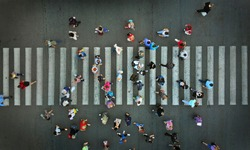 Aerial. Pedestrian crossing view above.