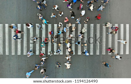 Aerial. Pedestrian crosswalk with people.  ストックフォト ©