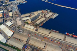 Aerial photo for port of Beirut before the Blast