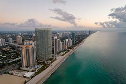 Aerial photo highrise towers on Miami Sunny Isles Beach FL USA