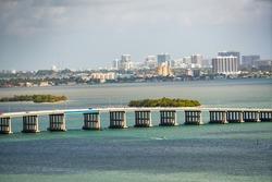 Aerial photo Miami bridge over bay telephoto far shot 300mm lens