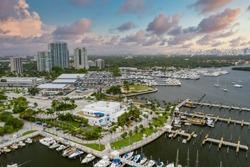 Aerial photo Miami waterfront scene Coconut Grove