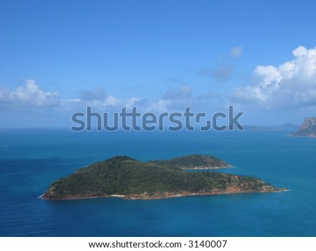 Aerial photo of a tropical island (Whitsunday islands, Queensland, Australia)