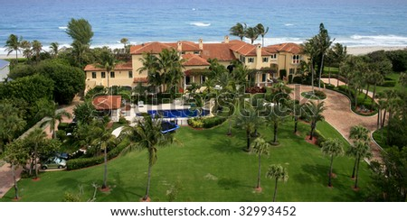 Aerial Photo of an Oceanfront Home in Florida
