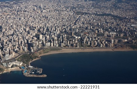 """Aerial photo of Beirut, Lebanon showing coastal promenade, the """"white sands"""" beach and the built up city"""