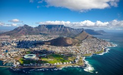 Aerial photo of Cape Town South Africa, overlooking Table Mountain and Lions Head