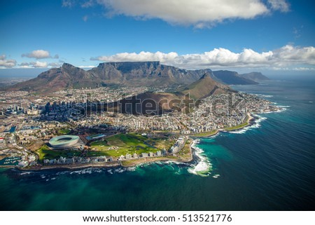 Aerial photo of Cape Town South Africa, overlooking Table Mountain and Lions Head #513521776