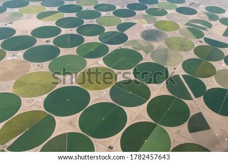 Aerial Photo of Circular Irrigated Fields near Center, Colorado, USA Photo stock ©