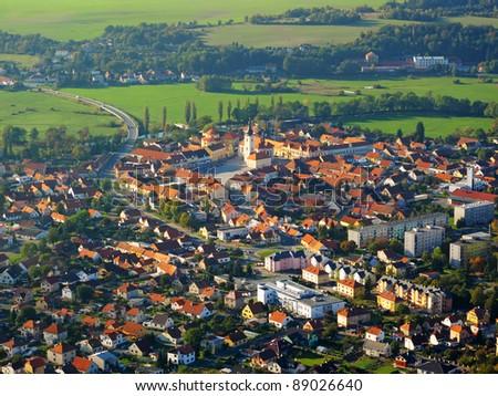 Aerial photo of city in sunset light. Dobrany, Czech republic, European union.