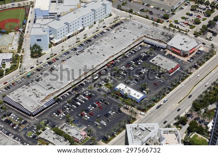Aerial photo of commercial shopping centers