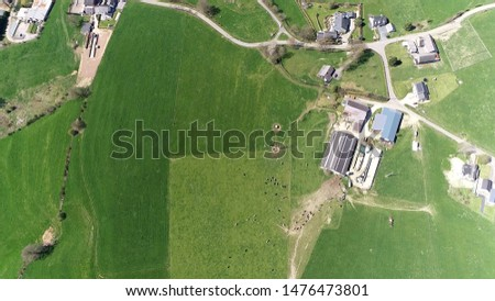Aerial photo of dairy farm is an area of land that is devoted primarily to agricultural processes with the primary objective of producing cattle milk also showing the cows walking towards the barn