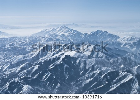 Aerial photo of dramatic mountain ranges