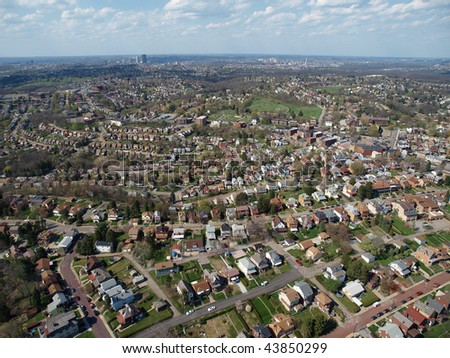 Aerial photo of historic neighborhoods in Pittsburgh Pennsylvania. - stock photo
