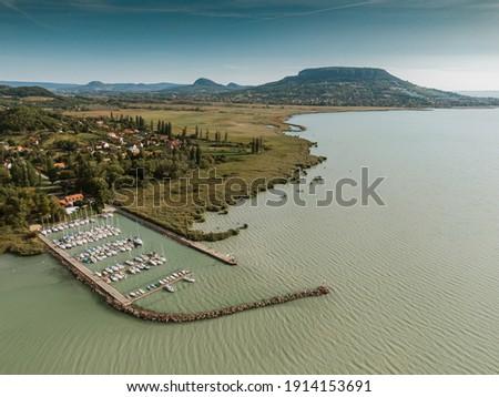Aerial photo of Lake Balaton with Badacsony Stock photo ©