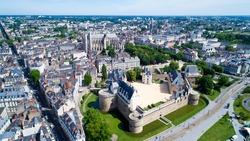 Aerial photo of Nantes city castle, Le chateau des ducs de Bretagne, Loire Atlantique, France