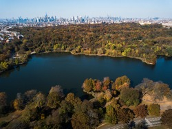 Aerial photo of Prospect park in Brooklyn during autumn
