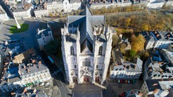 Aerial photo of Saint Pierre and Saint Paul cathedral in Nantes city center, France
