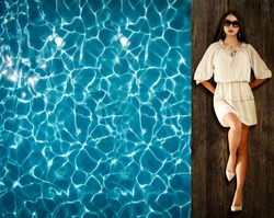 Aerial photo of slim young woman and swimmingpool. Free space for your decoration.